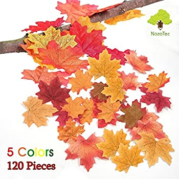 Noza Tec 120 Artificial Maple Leaves Approximately Assorted Mixed Fall Rich Artificial Flower Fall Colored Silk Maple Leaves for Weddings, Autumn Party,Events and Decorating