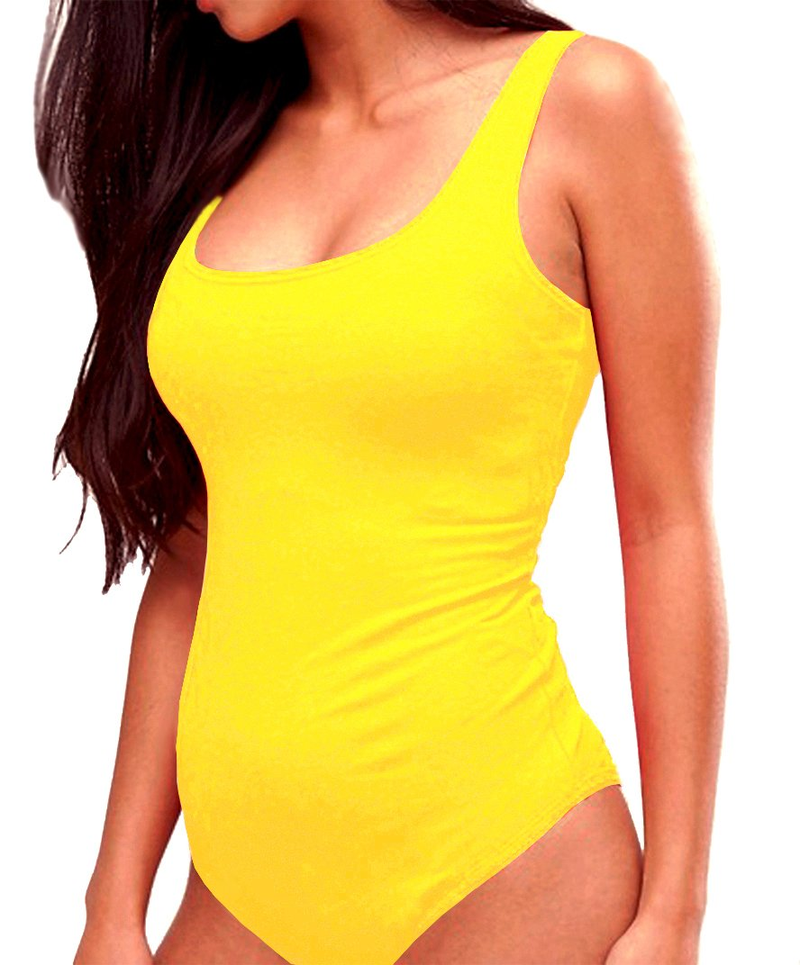 SUNRO Women's Sexy Scoop Neck Bodysuits Jumpsuits (Yellow, XX-Large)