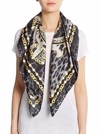 online retailer 6d8c4 08df5 Roberto Cavalli Silk Chain & Leopard-Print Scarf Black/Gold ...