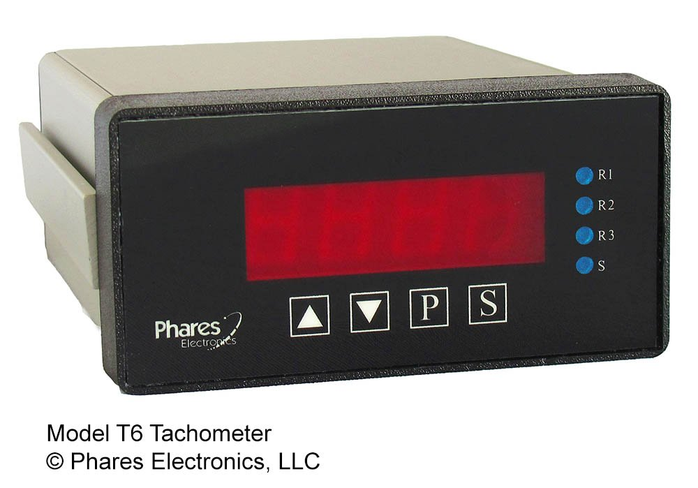 Phares T6-A Panel Mount Tachometer for Industrial Machines, 100-240 VAC, 3 Relays NO/NC, Analog Output 0-10V and 4-20mA