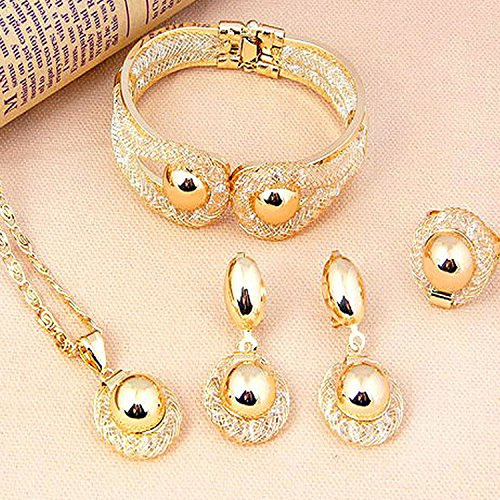 Pixel Jewelry 1985 - African Costume Necklace Set Party Fashion Women Dubai Gold Plated Jewelry (Cheap Costumes Jewellery)