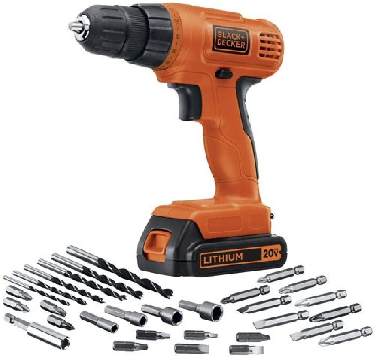 BLACK+DECKER 20V MAX Cordless Drill / Driver with 30-Piece Accessories (LD120VA): Home Improvement