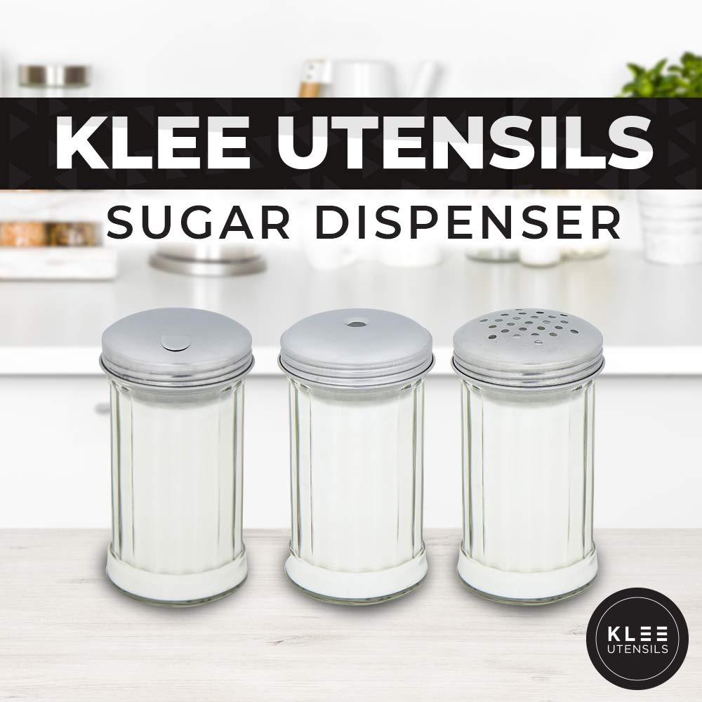 12 ounce Klee Sugar Dispenser Sugar Pourer Suger Shaker Glass With Stainless Steel Flip Cap