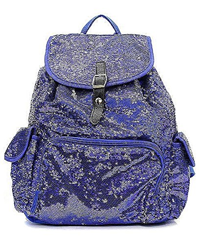 Wholesale Designer Inspired Handbags - Sequin Faux Leather Glittering Backpack Fashion Designer Inspired Handbag (Dark Blue)