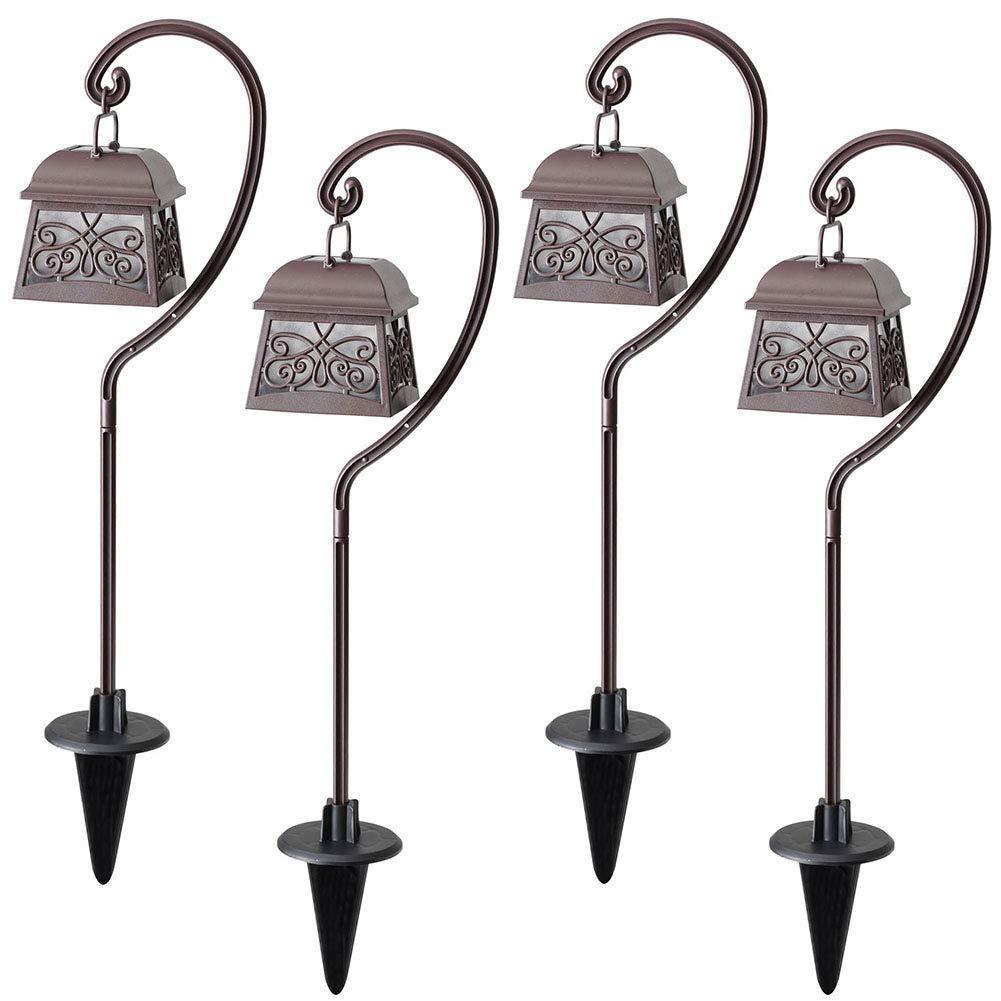 Maggift 22 Inch Hanging Solar Lights Multipurpose Shepherd Hook Lights with 4 Shepherd Hooks Outdoor Solar Coach Lights (4 Pack) by MAGGIFT
