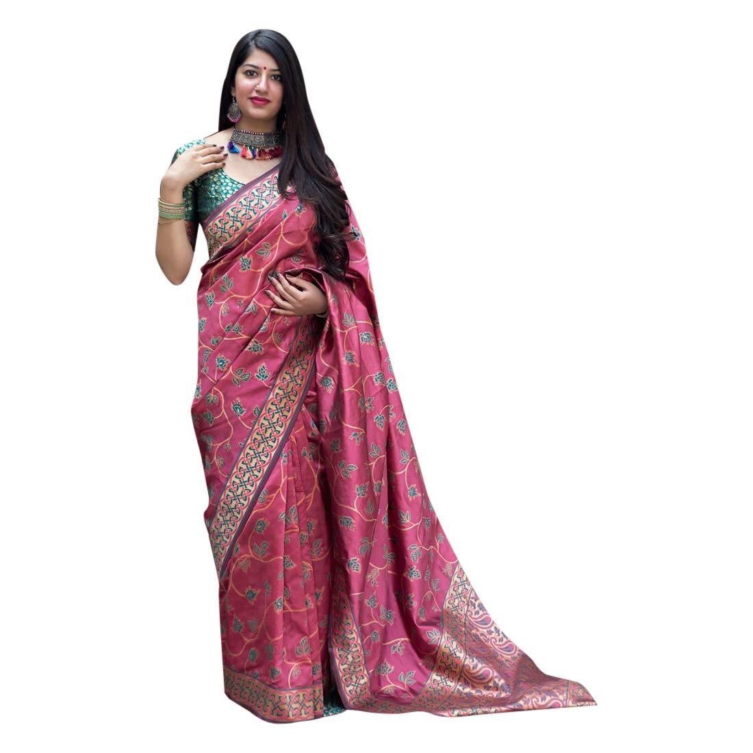 Leaf Patter Silk Saree Collection With Blouse Piece Light Weight Sari 7392