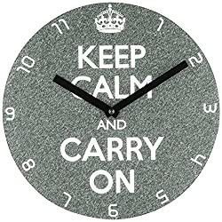 Refelx Non-Ticking Silent Acrylic Wall Clock, Large, Keep Calm and Carry on, Gray