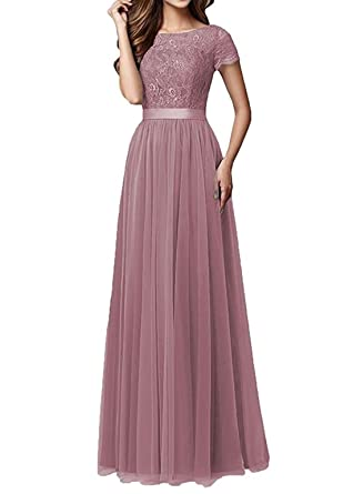 Womens Blush Floral Lace Bridesmaid Dress Short Sleeves Tulle Prom Evening Dresses Long Size 2