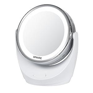 Spaire Espejo de Maquillaje 10X / 1X Doble Cara Espejo para Maquillaje con Luz LED Espejo de Aumento 360 Grados Rotación para Maquillaje Afeitado o Viaje