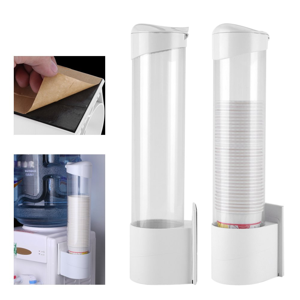 Cups Dispenser, Anti-Dust Waterproof Plastic 50 Paper Water Disposable Cup Holder Dispenser Rack Box Container
