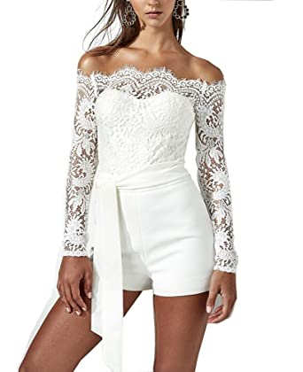 63c59f7690b4 Amazon.com  Khaleesi Women s Sexy Off Shoulder Long Sleeves Lace Rompers  Shorts Culbwear  Clothing
