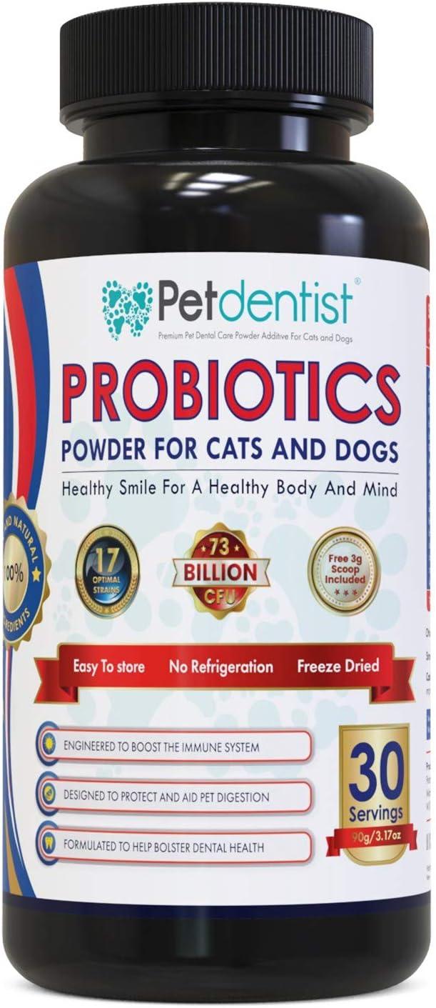 Petdentist polvo probiótico para perros y gatos con 17 cepas bacterianas beneficiosas Ayuda a la inmunidad a la digestión La salud dental incluye 73 millones de bacterias buenas por porción