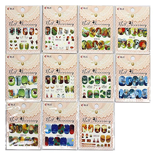 12 Packs Assorted Nail Art Cartoon Saloon Water Transfer Stickers, The Secret of Kells Nail Art Decal. (Kells Place)