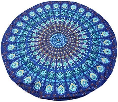 Goldyqin Toalla Redonda única India Toalla Bufanda Mandala Beach Picnic Throw Alfombra Manta Cómoda de algodón Toalla de Playa Estera de Yoga - Azul púrpura: Amazon.es: Hogar