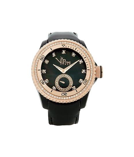 Reloj de señora correa de cuero negro VIP TIEMPO VP8020BK con circones: Amazon.es: Relojes