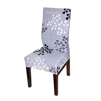 BTSKY 2pcs Removable Washable Dining Chair Protector Covers Spandex Chair Slipcovers (Grey Flower)