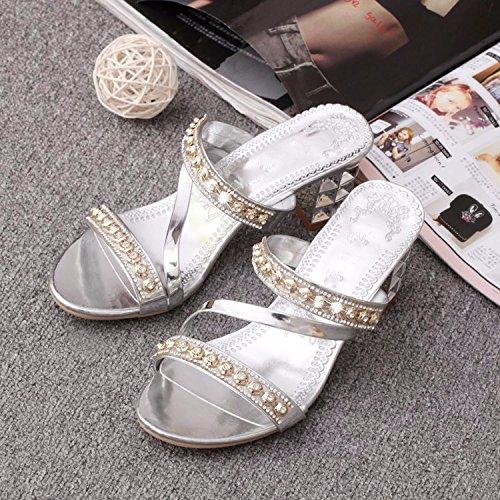 Stile Trapano L'Estate Il I Libero silvery La A Pantofole Forte Tallone Moda Pesante Tempo L'Acqua Primavera Spillo E Nuovo Tacchi KPHY Sandali Un v8WYqwtAt