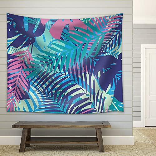 Fashion Tropical Seamless Pattern Colorful Palm Leaves Trendy Endless Background Vector Fabric Wall