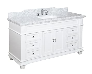 Charming Elizabeth 60 Inch Single Sink Bathroom Vanity (Carrara/White): Includes  Authentic Italian Carrara Marble Countertop, White Cabinet With Soft Close  Drawers, ...