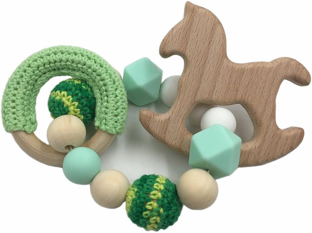 Coskiss Bebé de madera de haya Mordedor caballo de madera para la dentición Montessori juguetes del traqueteo del bebé de bricolaje masticables ganchillo perlas pulseras (Verde)