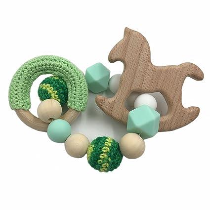 Coskiss Bebé de madera de haya Mordedor caballo de madera para la dentición Montessori juguetes del traqueteo del bebé de bricolaje masticables ...