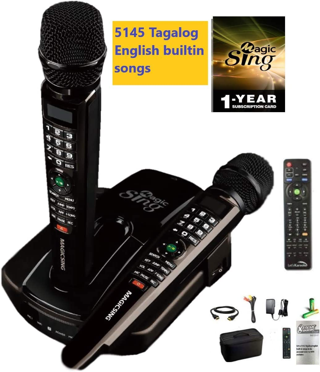 2019 Et23Pro Wifi Magic Sing Karaoke zwei Wireless Mics 12,000 English +1 Jahr Subscription für Tagalog Hindi Spanish Russian Vietnamese Japanese Korean Songs & More