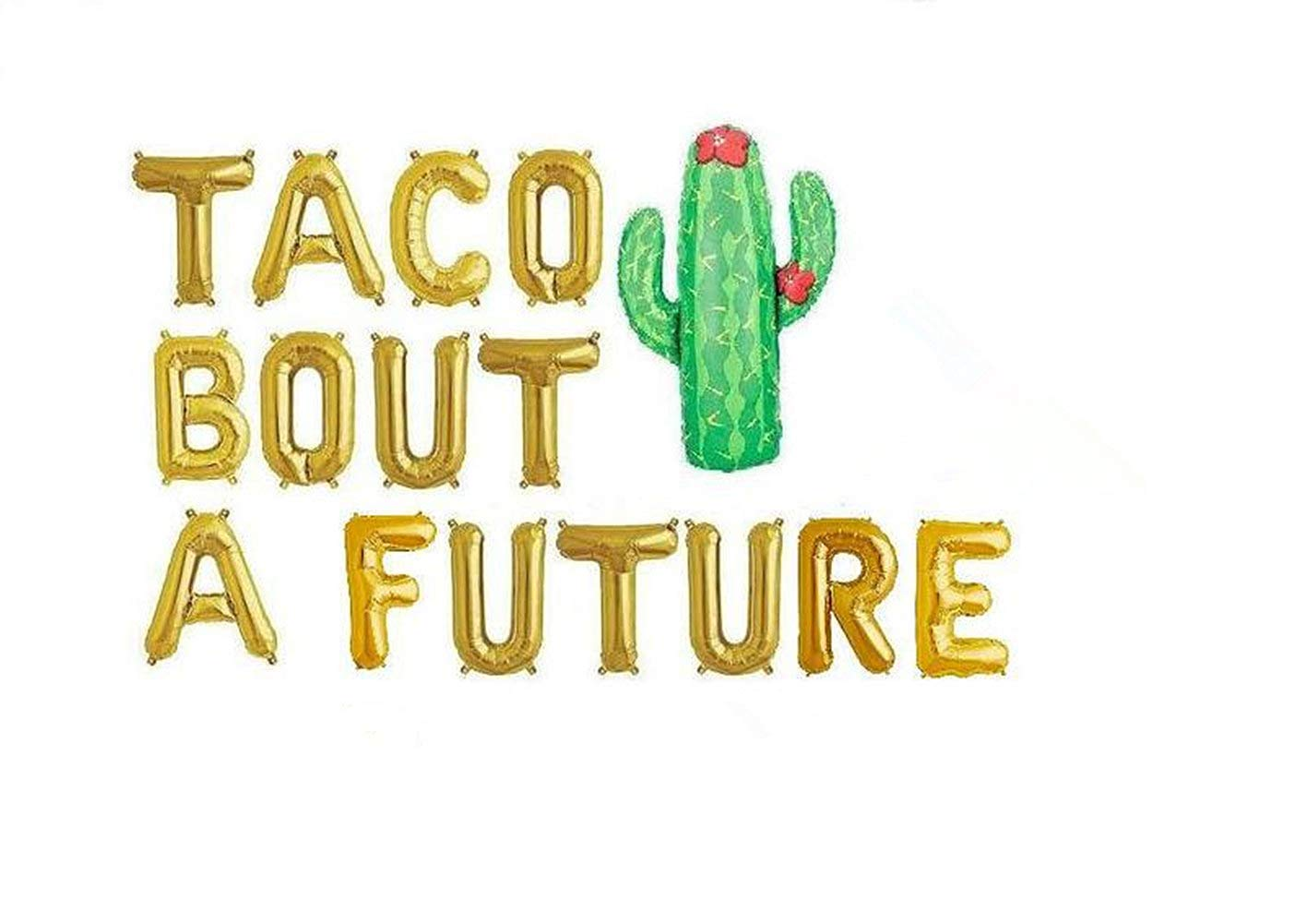 """WULEEUPER TACO BOUT A FUTURE Balloons   16"""" Gold Letter Cactus Gard Balloons   Graduation Celebration Banner for Fiesta Graduation Party   Wedding Bridal Shower Anniversary Engagement Party Decoration"""