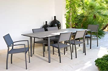 Table de jardin Rio extensible allonge papillon Gris: Amazon ...
