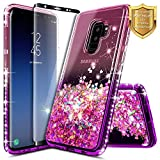 Galaxy S9 Plus Case w/[Full Coverage Screen Protector HD], NageBee Glitter Liquid Quicksand Floating Shiny Sparkle Flowing Bling Diamond Luxury Clear Cute Case For Samsung Galaxy S9 Plus -Pink/Purple