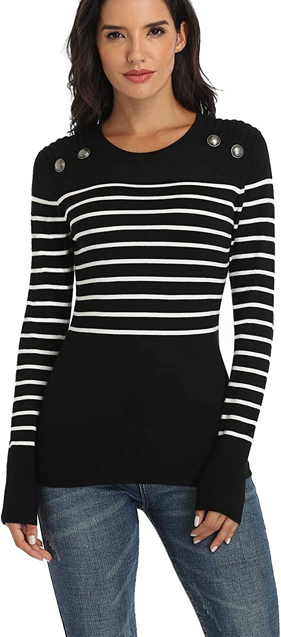 Women Crewneck Striped Military Sweaters Casual Long Sleeves Knit Pullover Sweater Tops