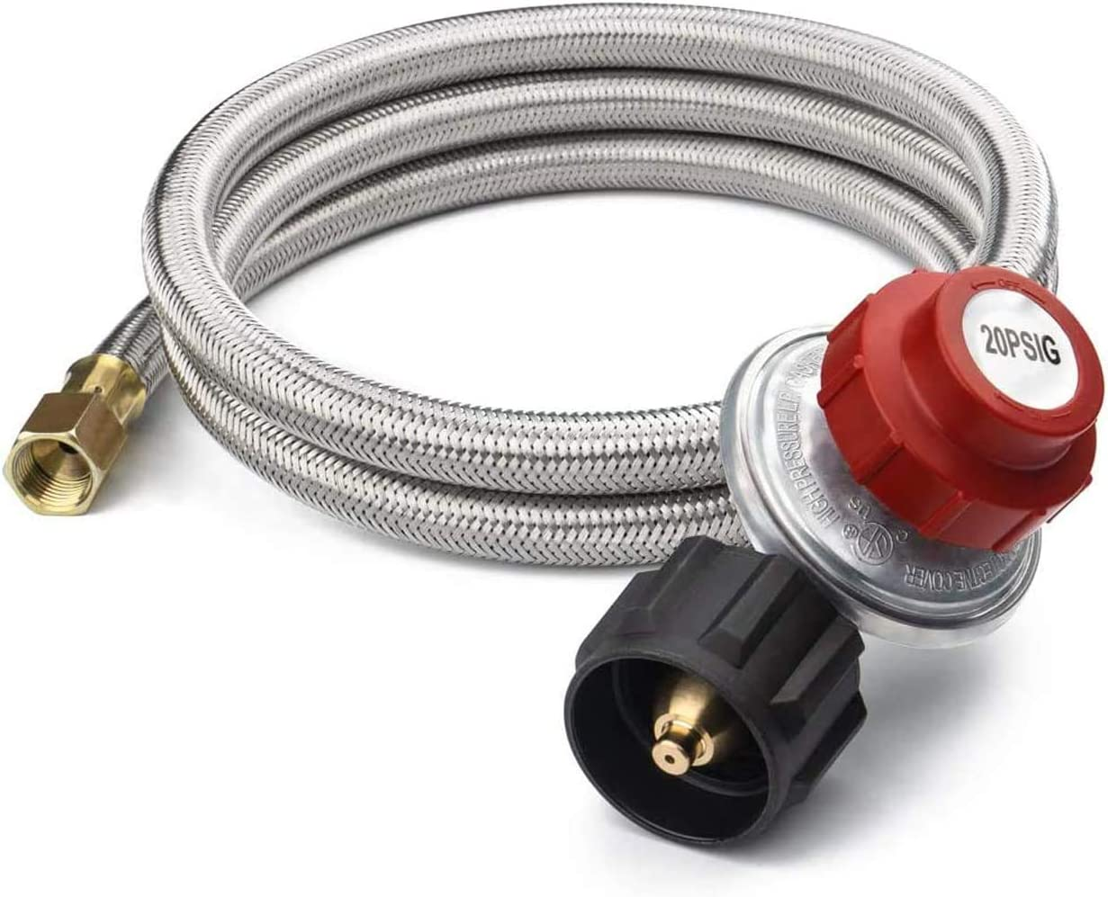 SHINESTAR 8FT 20 PSI Adjustable Propane Gas Regulator, High Pressure Propane Regulator with Braided Hose for Turkey Fryer, Burner, Cooker, Grill, Fire Pit, Smoker and More, QCC1/Type1 Connection