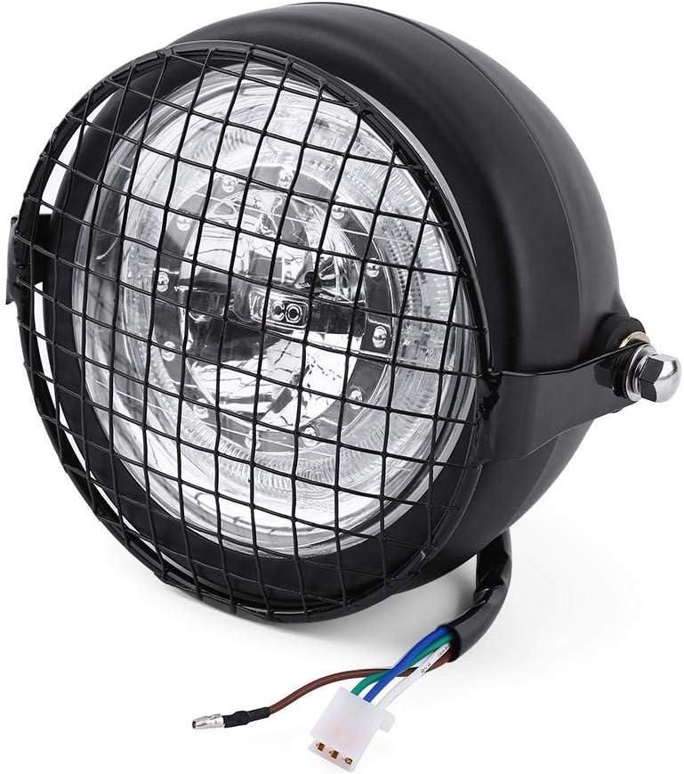 16 5 Cm Led Scheinwerfer Motorrad Headlights Lampe Mit Metall Grill Cover Halterung Für Cafe Racer Choppers Kreuzer Auto