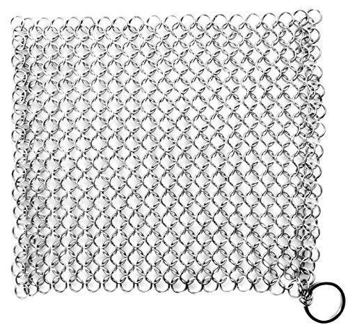 less-Steel Chainmail Scrubber for Cast-Iron Cleaner, Skillet, Pan, Griddle and Wok ()