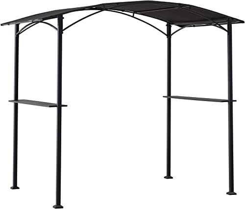 Sunjoy A103002000 Doutzen 5×8 ft. Black Steel Grill Gazebo