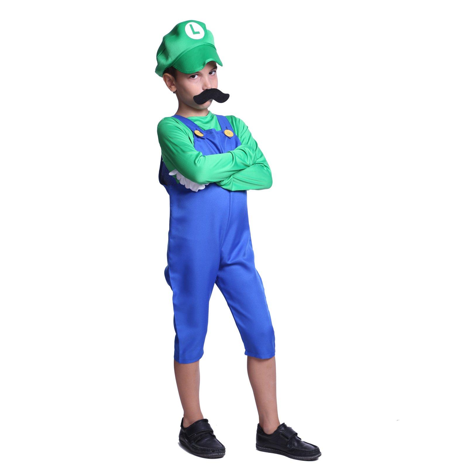 Boys Super Mario Luigi Plumber Bros Workmen Game Fancy Dress Costume Kids