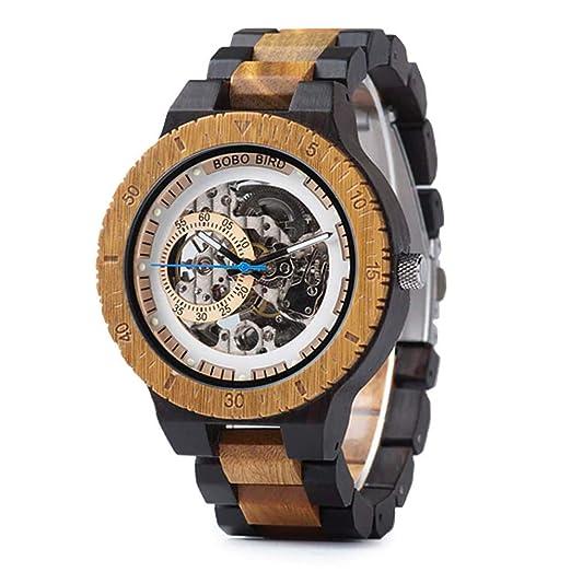 BOBO Bird - Reloj mecánico de madera para hombre, ligero, tamaño grande, con caja de regalo: Amazon.es: Relojes