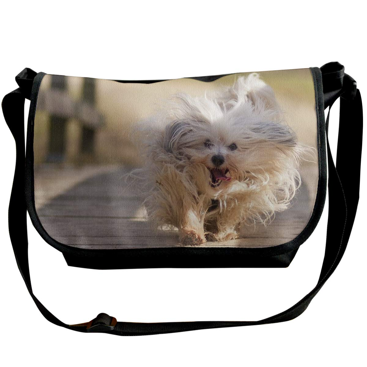 Taslilye Dog Fluffy Run Happy Running Customized Wide Crossbody Shoulder Bag For Men And Women For Daily Work Or Travel
