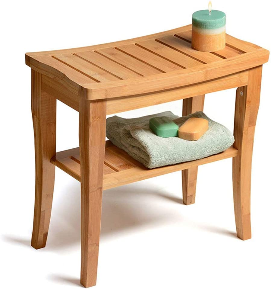 """HTL Useful Bathroom Accessories Bamboo Shower Chair, 19"""" Waterproof Bamboo Shower Seat Bench, Wooden Bathroom Seat Stool Spa Bath Organizer, Perfect for Indoor Outdoor"""