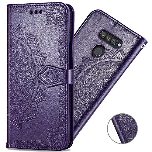 Funda Estilo Billetera Magnetica Mandala LG K50s Purpura