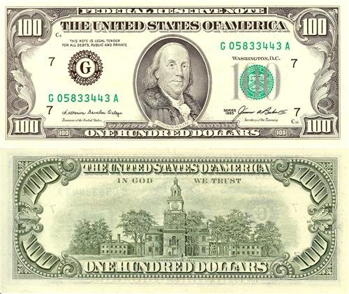 Ben Franklin Hundred Dollar Bill Glossy Poster Picture Photo money currency