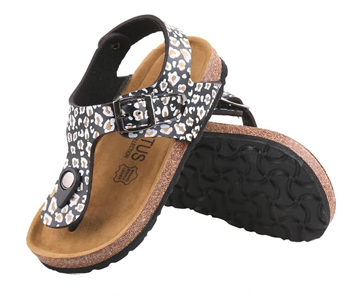ONCEFIRST Girls Casual PU Leather Cork Sole Thong Sandals
