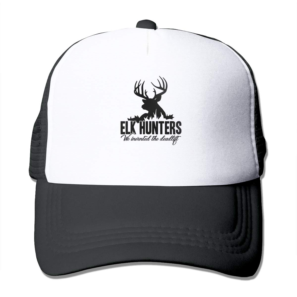 de117d312c079 Amazon.com  Elk Hunter Invented Deadlift Mesh Baseball Cap Unisex Style Hat  Black  Clothing