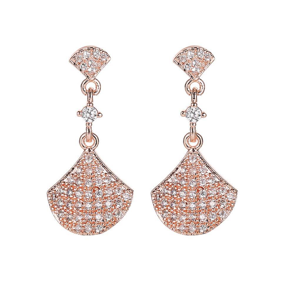 Zhang Trading 18K Gold Plated Shell Shape Micro Inlay Zirconia Dangle Fine Earrings