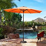 Belleze 9' ft Patio Umbrella Outdoor Table Umbrella Tilt UV Backyard Garden w/Heavy Duty Sturdy Ribs (Orange)