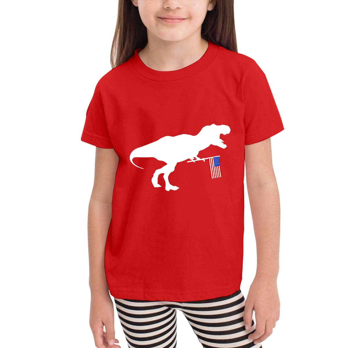 Kids T-Shirt Tops Black T Rex and American Flag Unisex Youths Short Sleeve T-Shirt