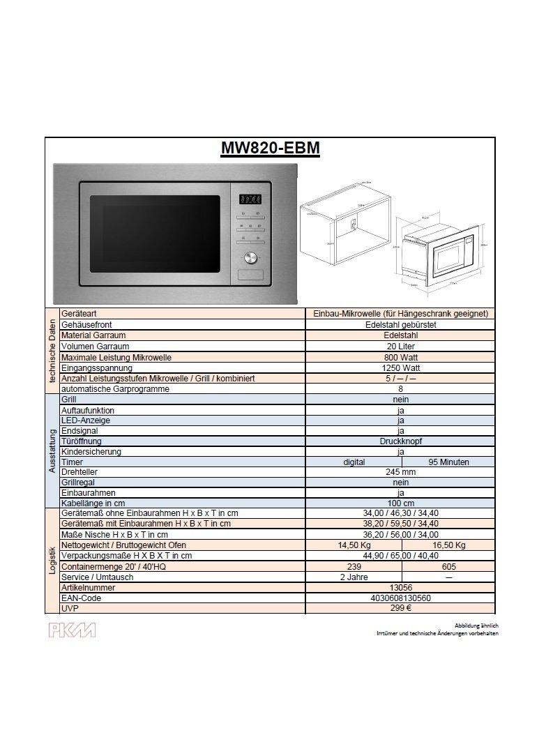 Mikrowelle Ja Oder Nein pkm mw820ebm einbau mikrowelle edelstahl 800watt amazon de elektro