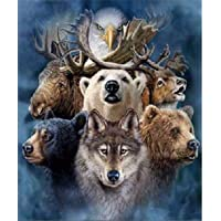 Diamond Painting by Number Kits DIY Full Drill Crystal Rhinestone Cross Stitch Embroidery Arts Craft Picture Supplies for Home Wall Decor - Wolf, Eagle, Bear & Deer 12x16 inches