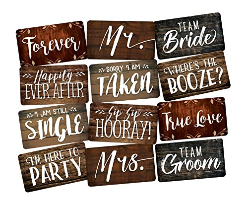PHOTO BOOTH PROP 6 PC SET DOUBLE SIDED, Wedding Prop Signs perfect for DIY Photo Booth Great for Photo Booth Rentals. Fun Wedding Photo Booth Props Guests Will Love! (Sign Photo Stop)