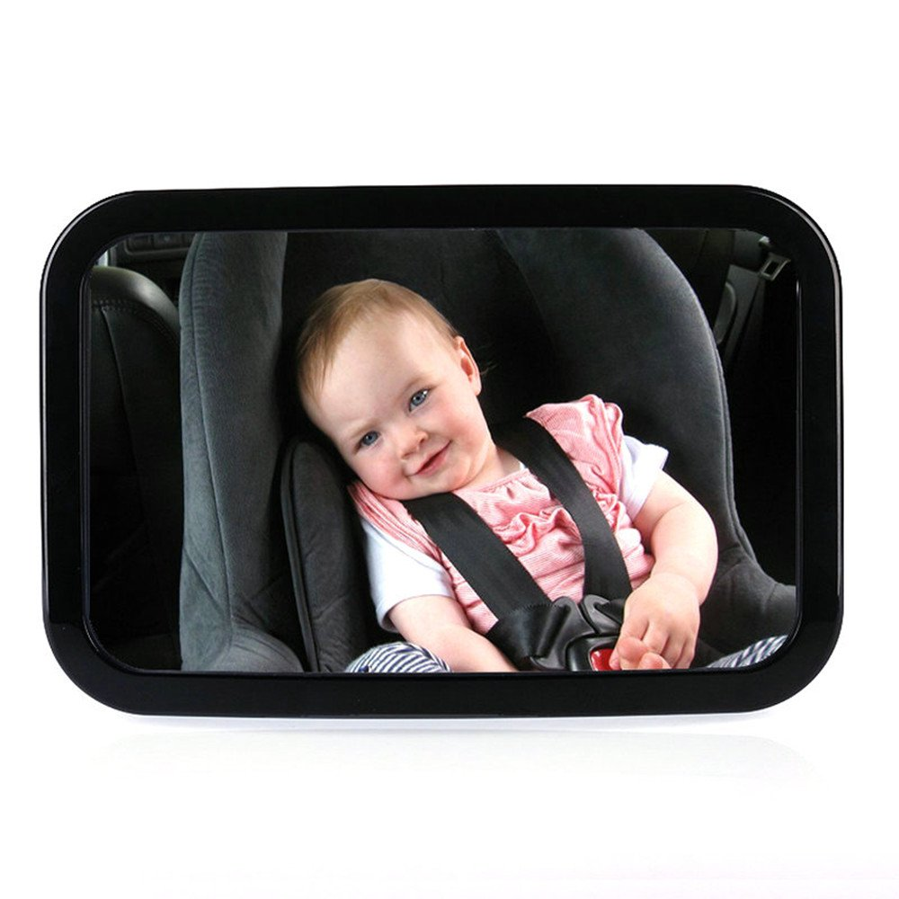 Baby Car Mirror, Baby Back seat Mirror, Large Rectangle Shape Rear View Car Seat Mirror with Adjustable Straps and Tilt Function, Give Clear Views for Rear Facing Car Seat, Designed for Baby Safety,30X19cm Fengrui