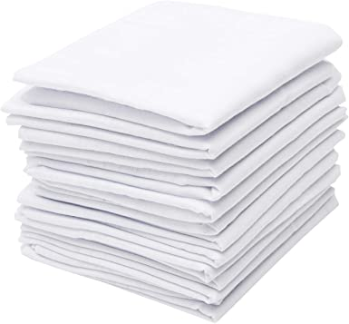 Men/'s plain white poly cotton Handkerchiefs Hankies pack of 5 or 10